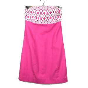 Lilly Pulitzer Hot Pink Lace Bowen Strapless Dress